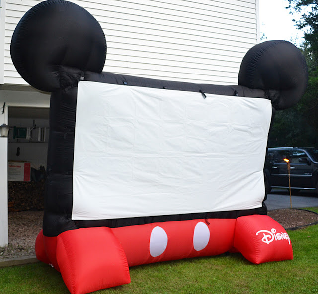 jumbo movie screen, outdoor movie night, summer night fun, disney movie screen