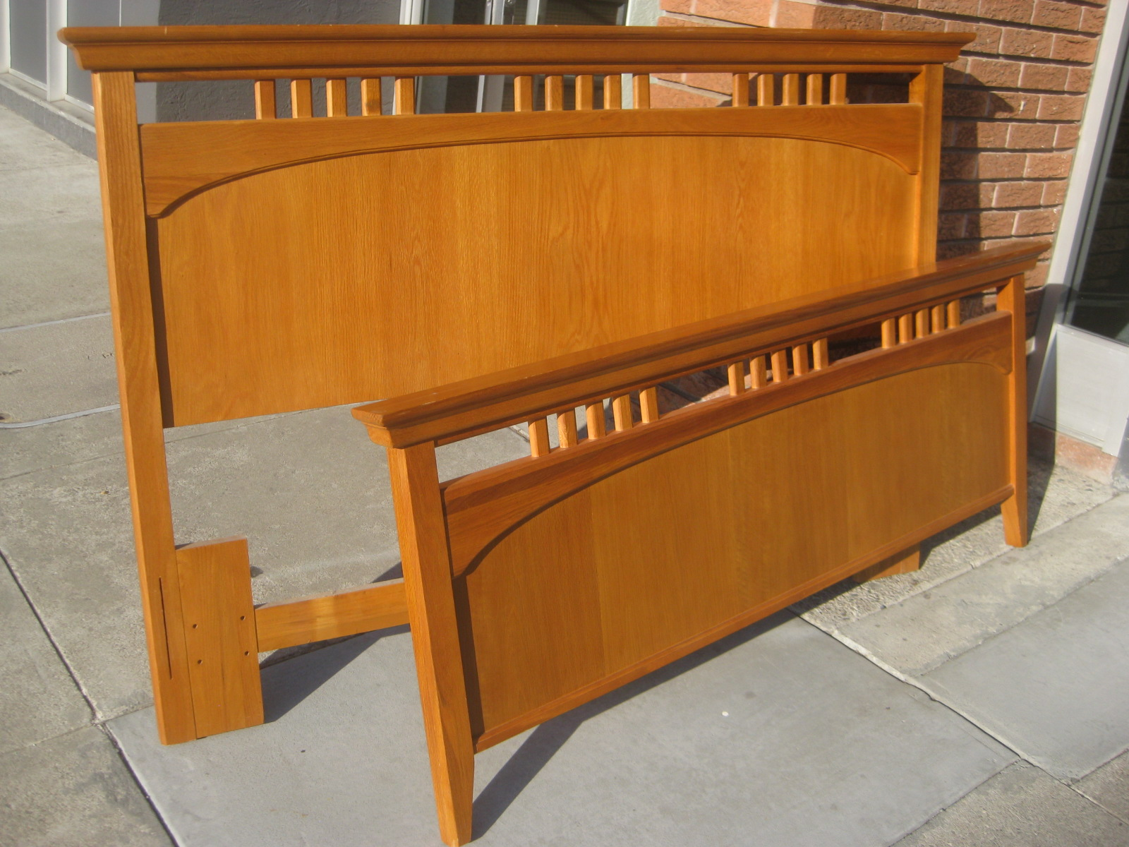 UHURU FURNITURE & COLLECTIBLES: SOLD - Queen Oak Bed Frame - $200