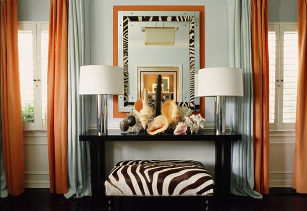 Orange and Zebra Living Room