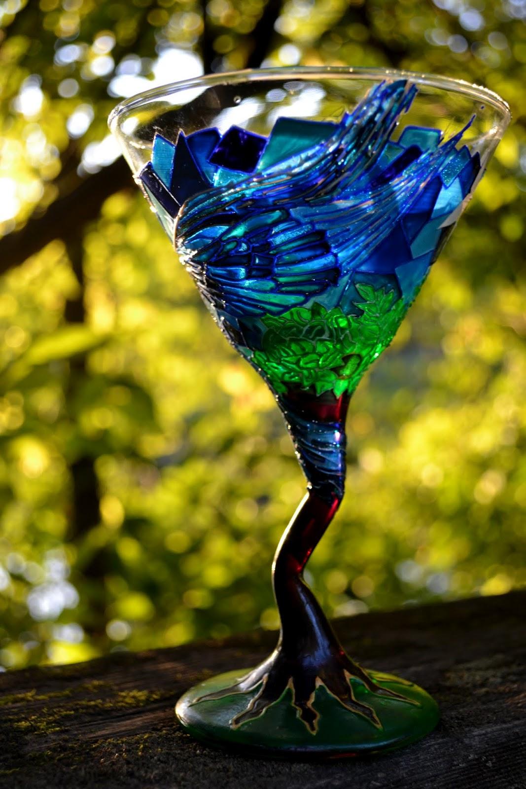 My Art Glass World: Hand Painted Martini Glass - Bluebird of Happiness