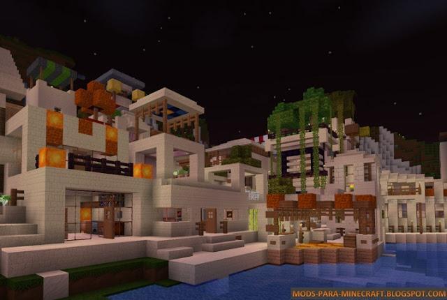 Isla con construcciones y texturas del paquete MarvelousCraft