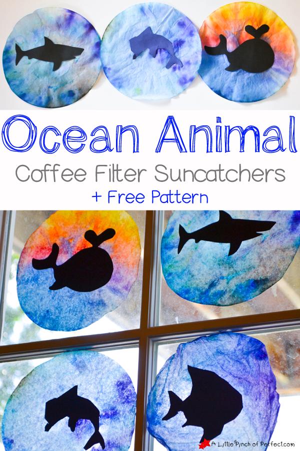 ocean animal coffee filter suncatcher craft for kids pattern