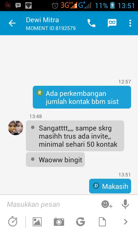 Testimoni Jasa Tambah Kontak BBM