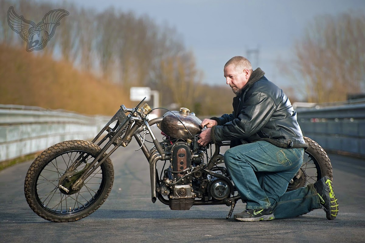 robbie with his gnarly nsu chopper | photo by floris velthuis