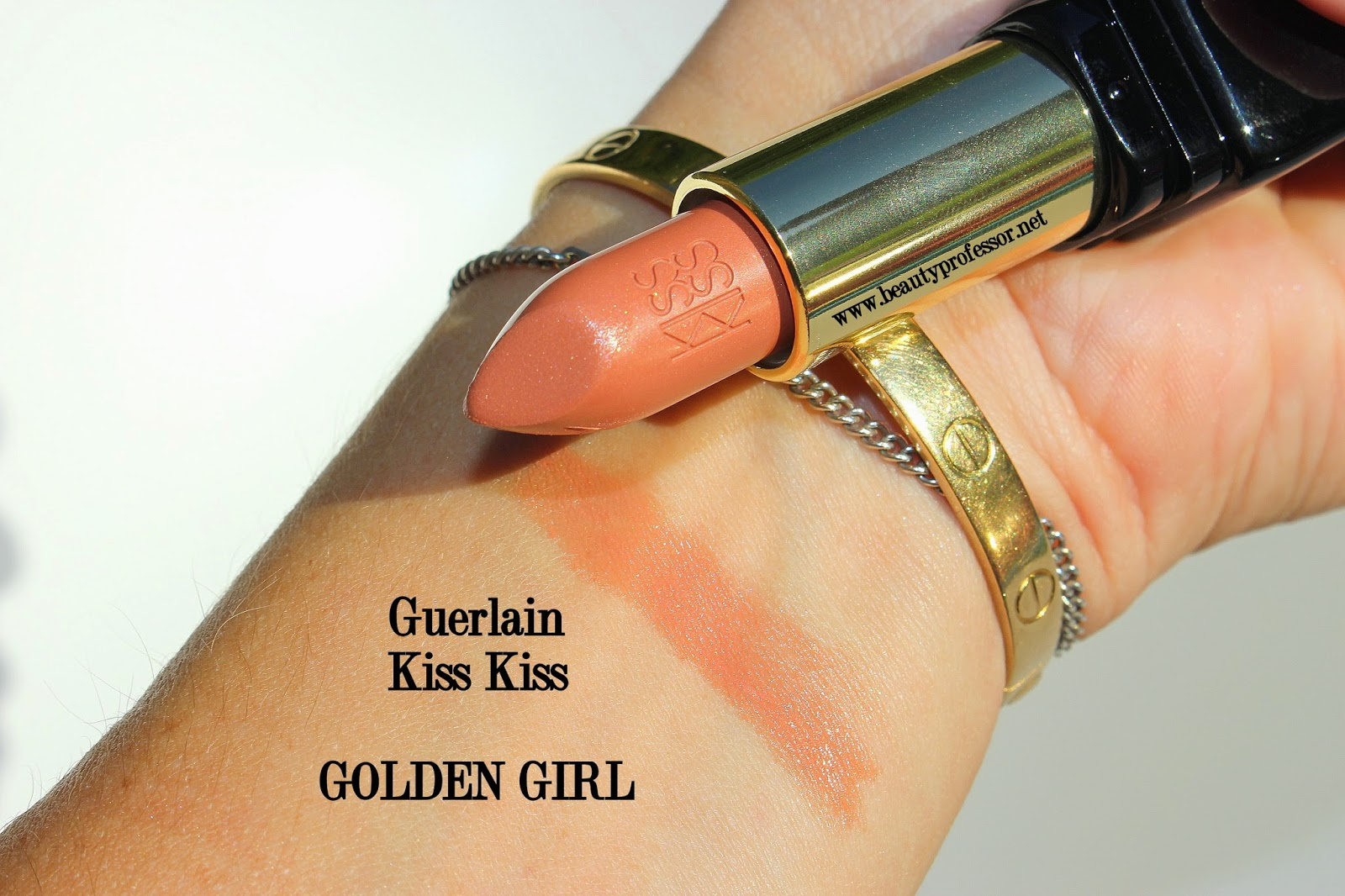 guerlain kiss kiss lipstick golden girl swatch