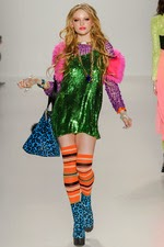 betsey johnson, new york fashion week, green sequin dress, striped knee hi socks,