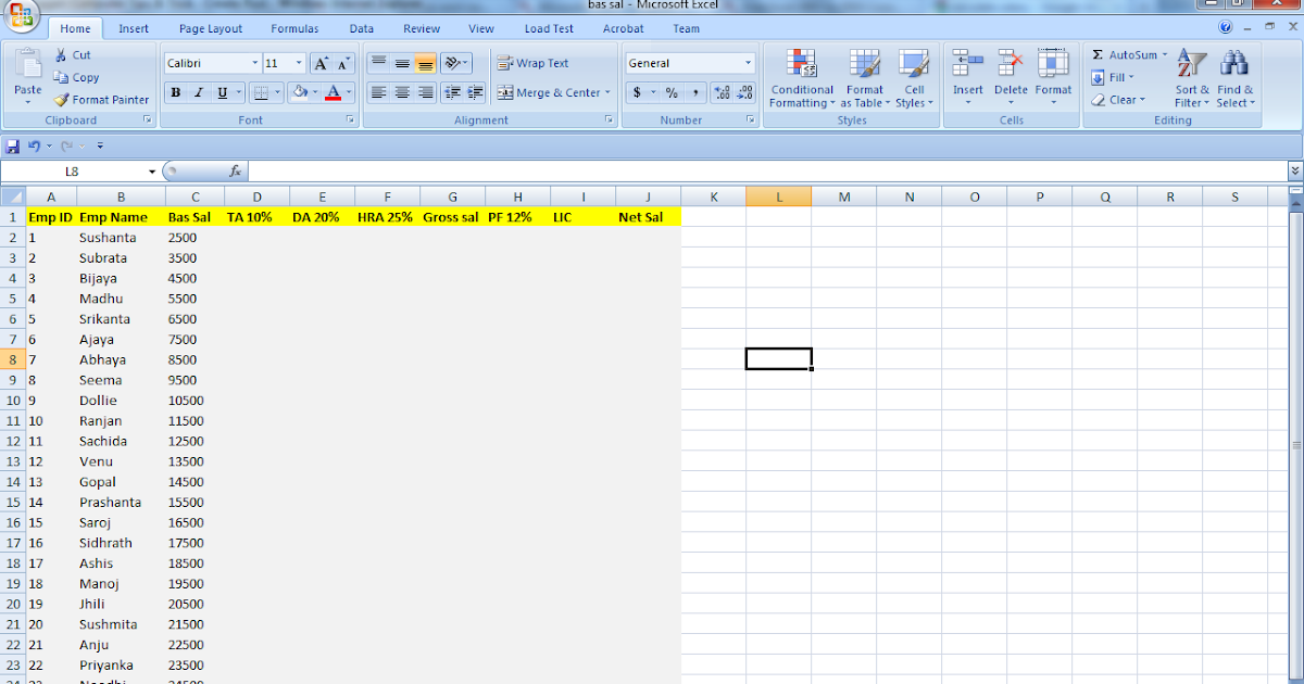 computer tips  u0026 trick  how to calculate salary in excel 2007