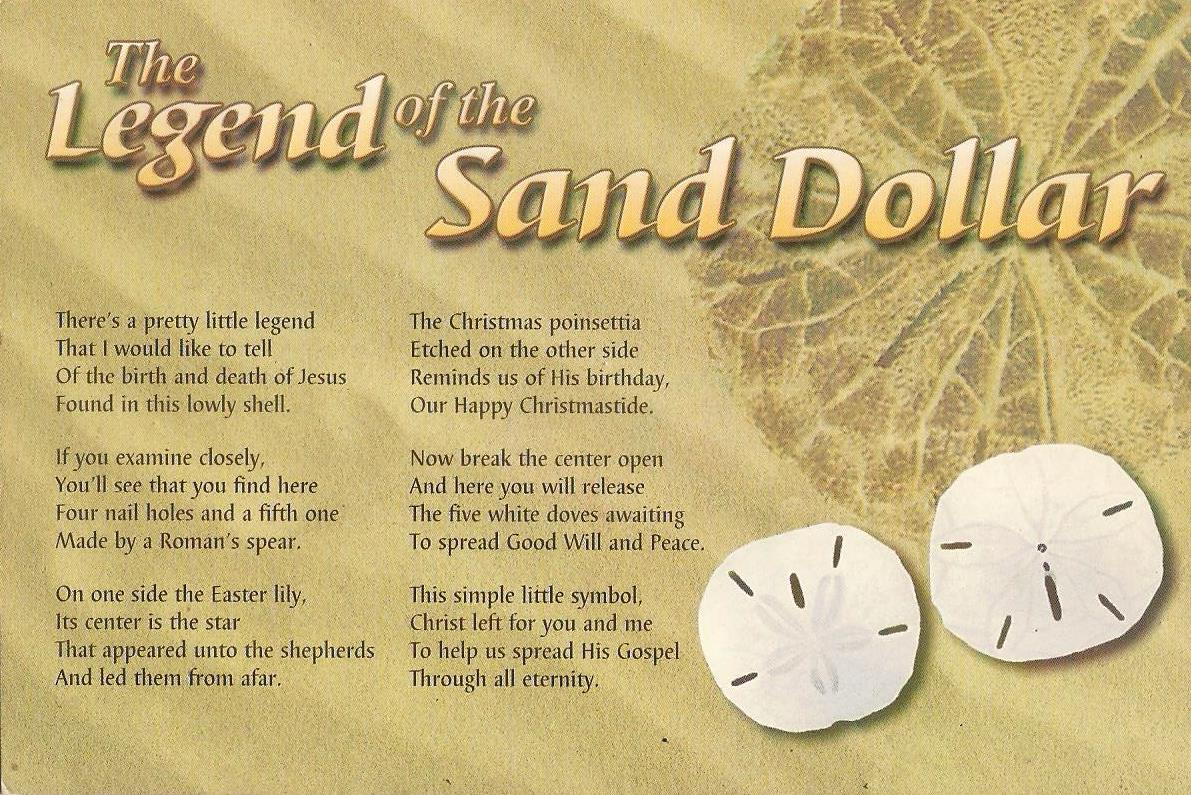 Striking image within legend of the sand dollar poem printable
