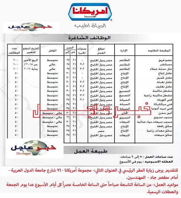 """اعلان شركة امريكانا """" 1150 وظيفة """" للمؤهلات العليا والمتوسطة داخل مصر ودول الخليج"""