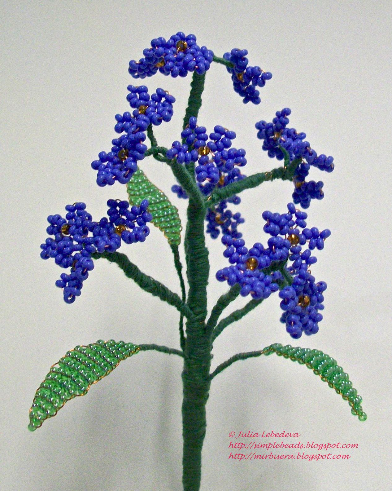 Beading for the very beginners forget me not i made 3 such flowers and put them into a basket what a lovely bouquet of forget me nots has turned out ccuart Image collections
