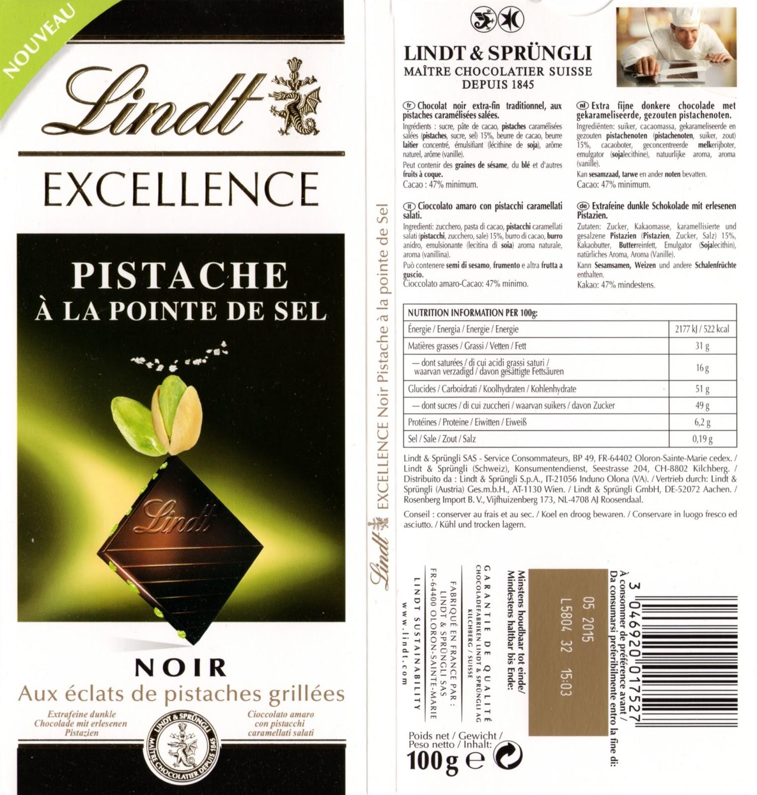 tablette de chocolat noir gourmand lindt excellence pistache à la pointe de sel