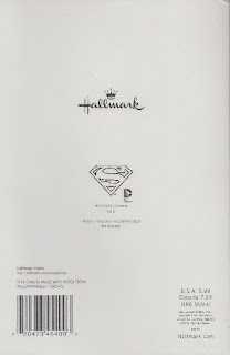 Back of Superman birthday card with backpack pull tag from Hallmark