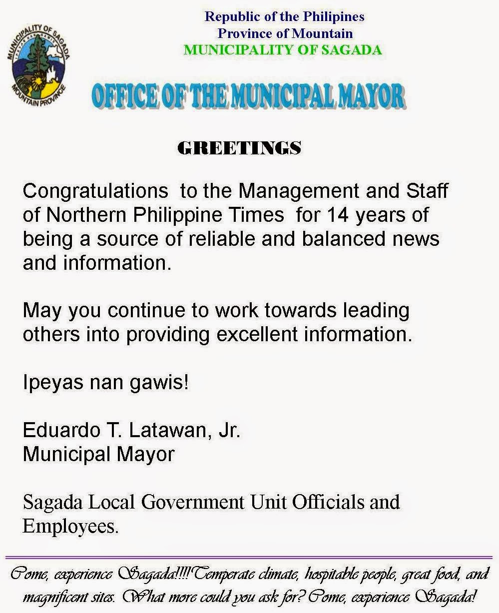 Sagada Mayor Latawan's message
