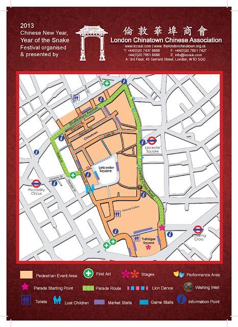 mapa de la celebración del año nuevo chino en Londres