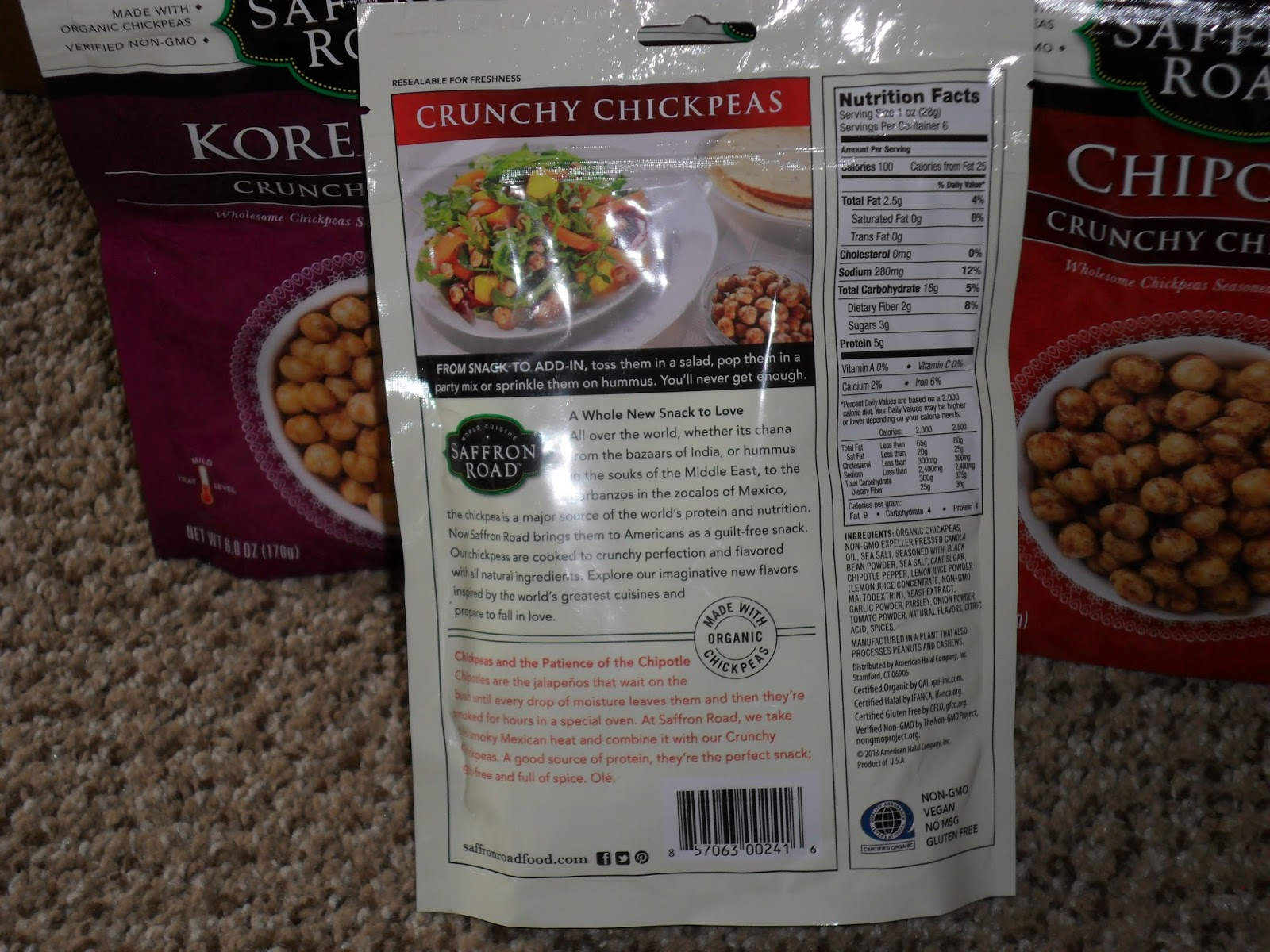 Trendy and tasty crunchy chickpeas from Saffron Road. Review
