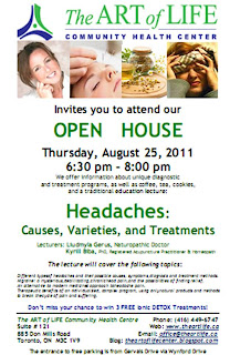 Headaches: Causes, Varieties, and Treatments, Open House the Art of Life Community Health Centre, Toronto, August 25, 2011