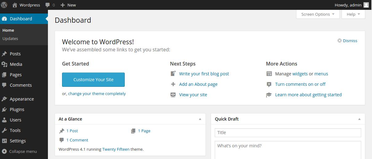 halaman dashbor wordpress