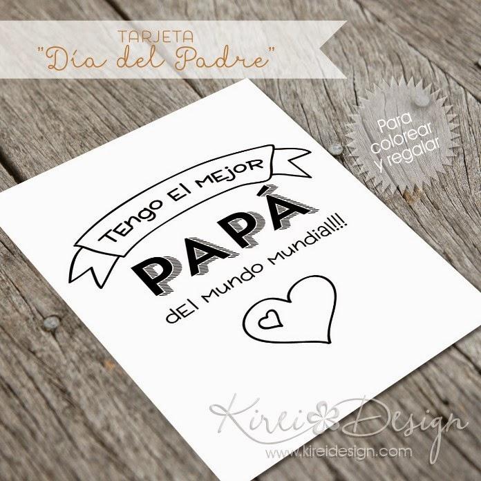 Freebie: Tarjeta Día del Padre para colorear - KIREIDESIGN