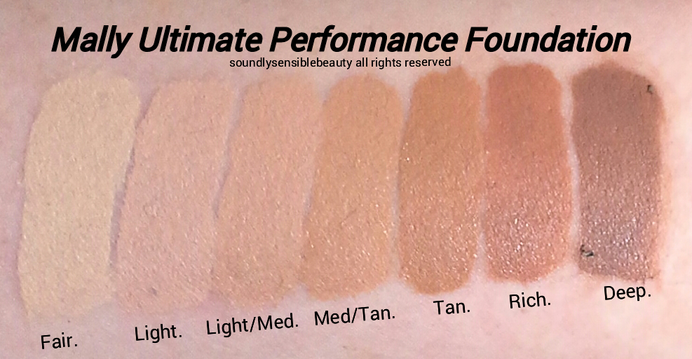 Mally Foundation; Liquid Ultimate Performance Swatches of Shades,