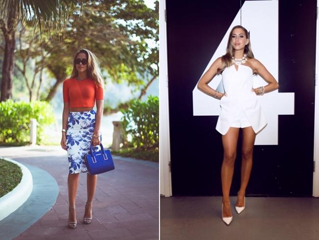 Kenza Zouiten, größte Bloggerin der Welt, Sommerinspiration, orange Croptop, white dress