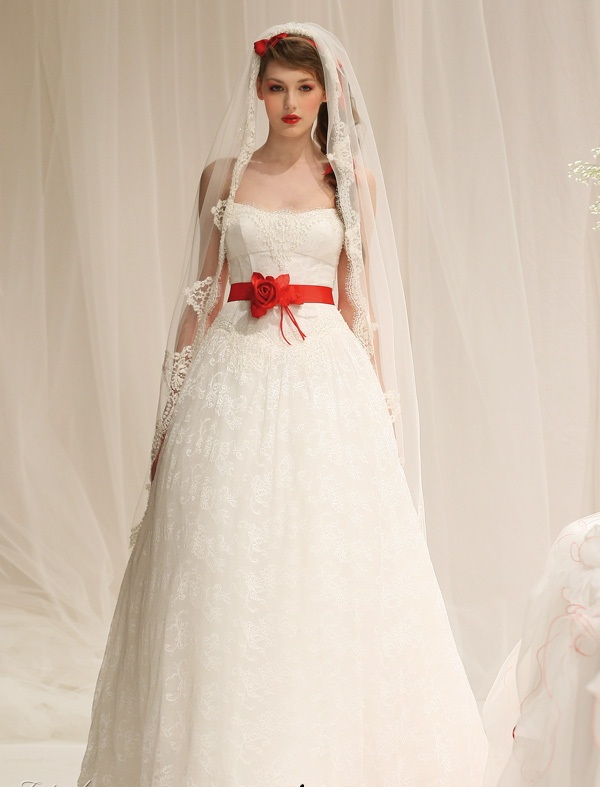 A wedding addict timeless red and white wedding dresses for Wedding dresses with roses on them
