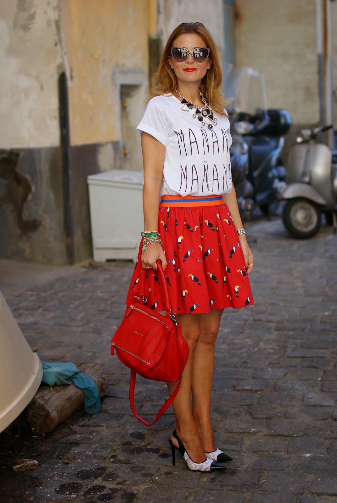 manana manana meaning, manana t-shirt, Nando Muzi shoes, Givenchy Pandora in red, Fashion and Cookies, fashion blogger