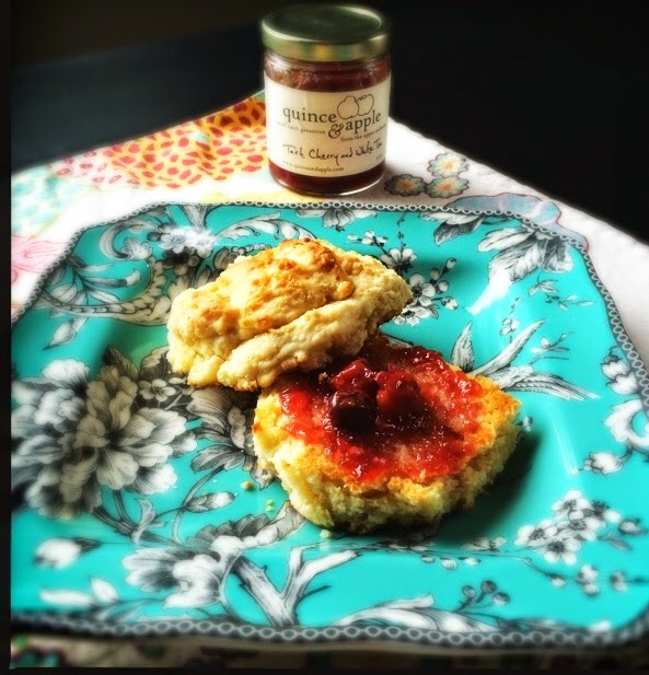 Homemade Biscuits with Local Tart Cherry and White Tea Preserves. The Graffitied Gardenia