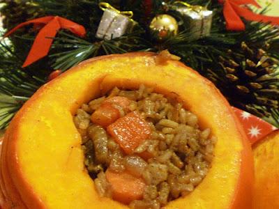 The vegetarian experience stuffed pumpkin a vegan for Vegetarian christmas stuffing
