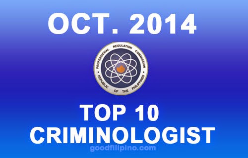 Top 10 Passers of October 2014 Criminologists Exam Results