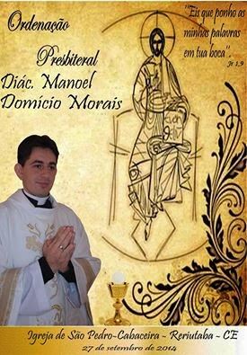 Reriutabense Domício Morais, será ordenado padre no próximo dia 27 de setembro.