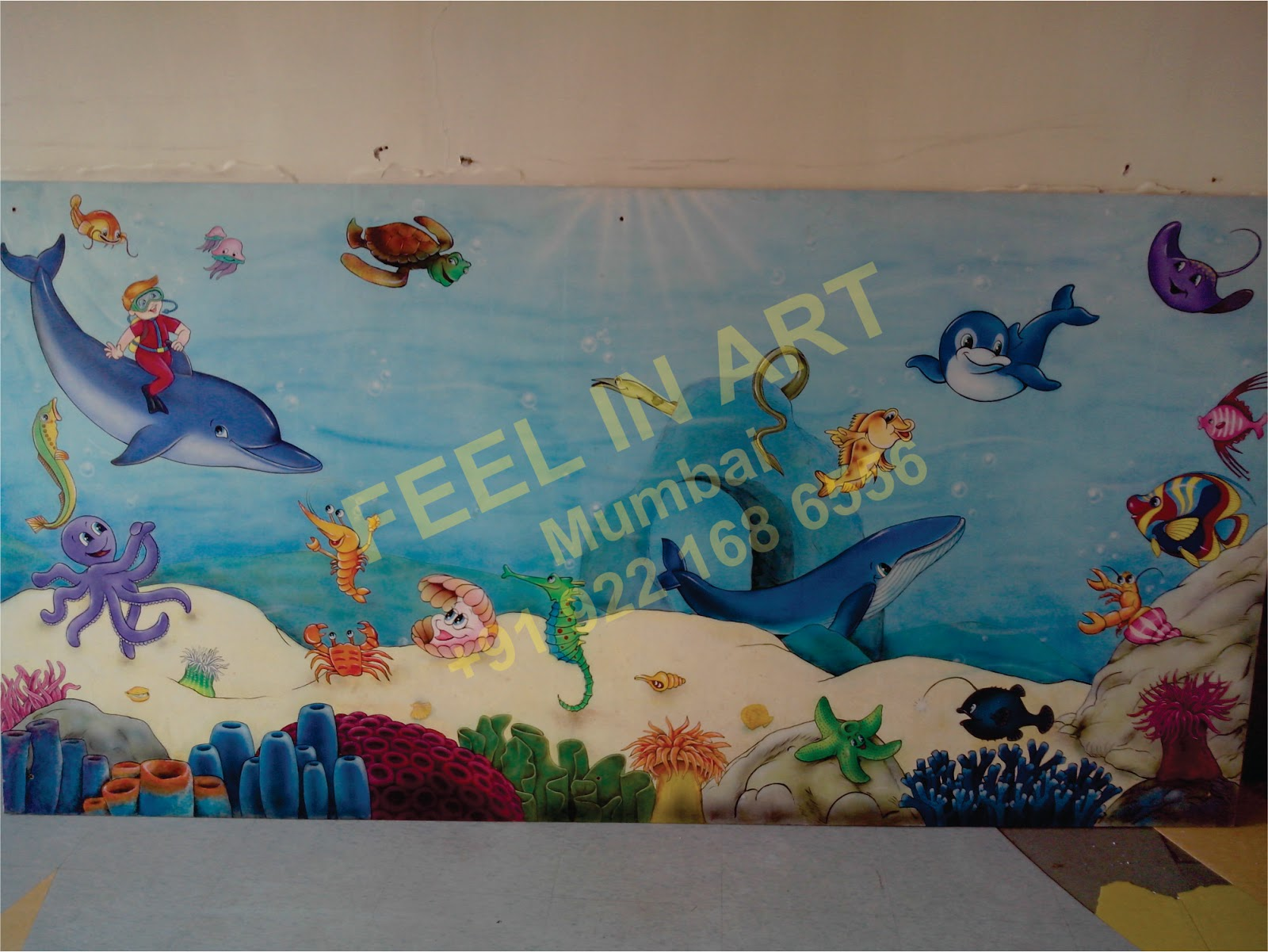 Accent Wall Pattern likewise Play School Wall Painting. on painted