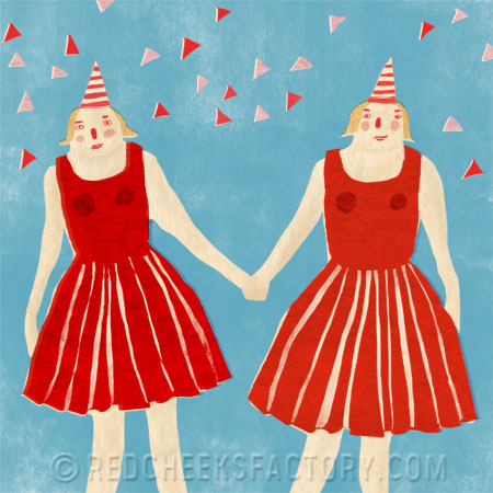birthday twins illustration for twins project Red Cheeks Factory