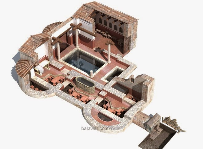 Baños Romanos Merida:Arriba, restos fotogramétricos de las termas urbanas de Mérida, con
