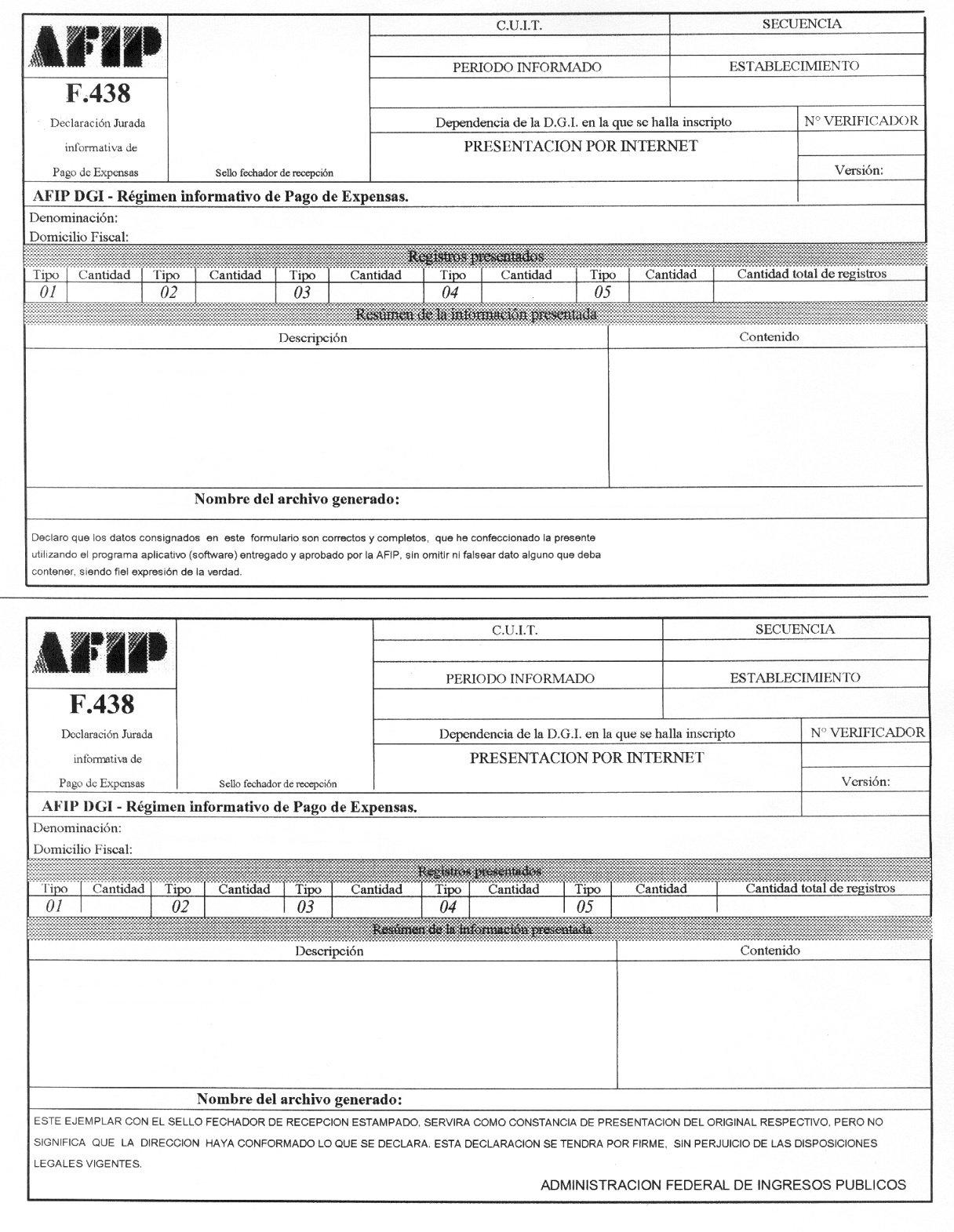 Control Consorcios F438 Afip Rg 2159 06 Asesoramiento