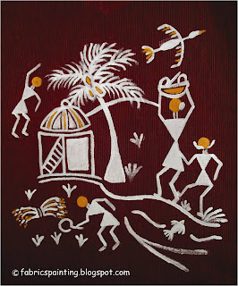 warli painting on kurta with hut and tree
