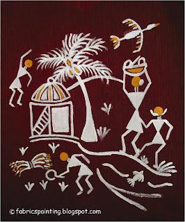 warli painting on kurta with hut and tree