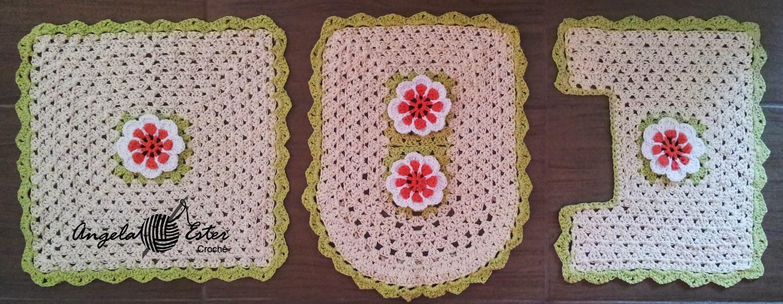 Angela Ester Croche Jogo banheiro em crochê flor laranja -> Jogo De Banheiro Simples Em Croche