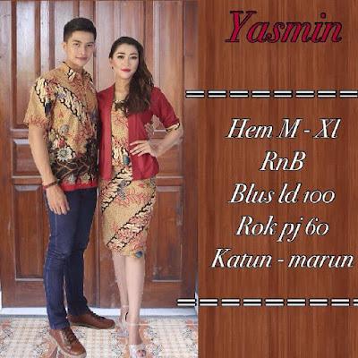 Baju Sarimbit Batik Pasangan Yasmin Merah