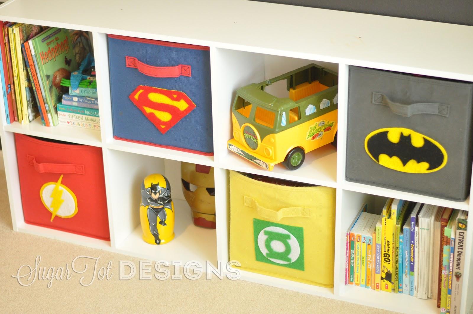 sugartotdesigns superhero bins tutorial and printable. Black Bedroom Furniture Sets. Home Design Ideas