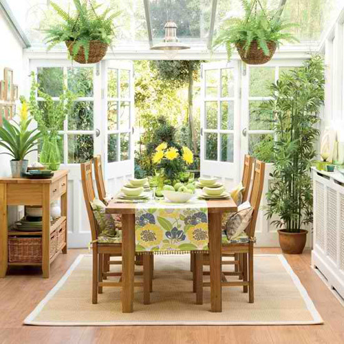 Small Porch for Dining and Relaxing with Small Garden ~ Interior ...