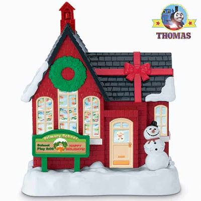 AA batteries powered motorized model Thomas tank engine winter snow wearing cute Xmas Santa bonnet
