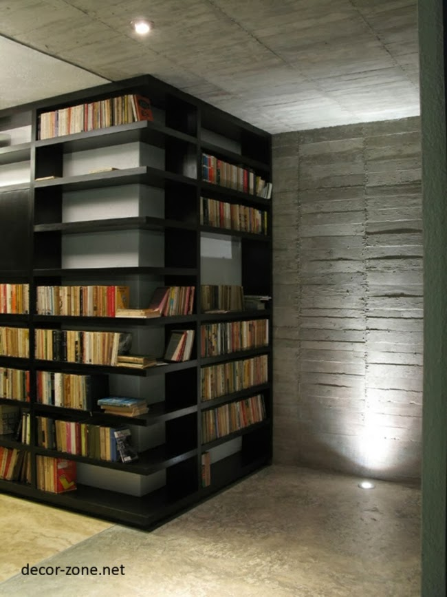 modern home library design ideas corner library