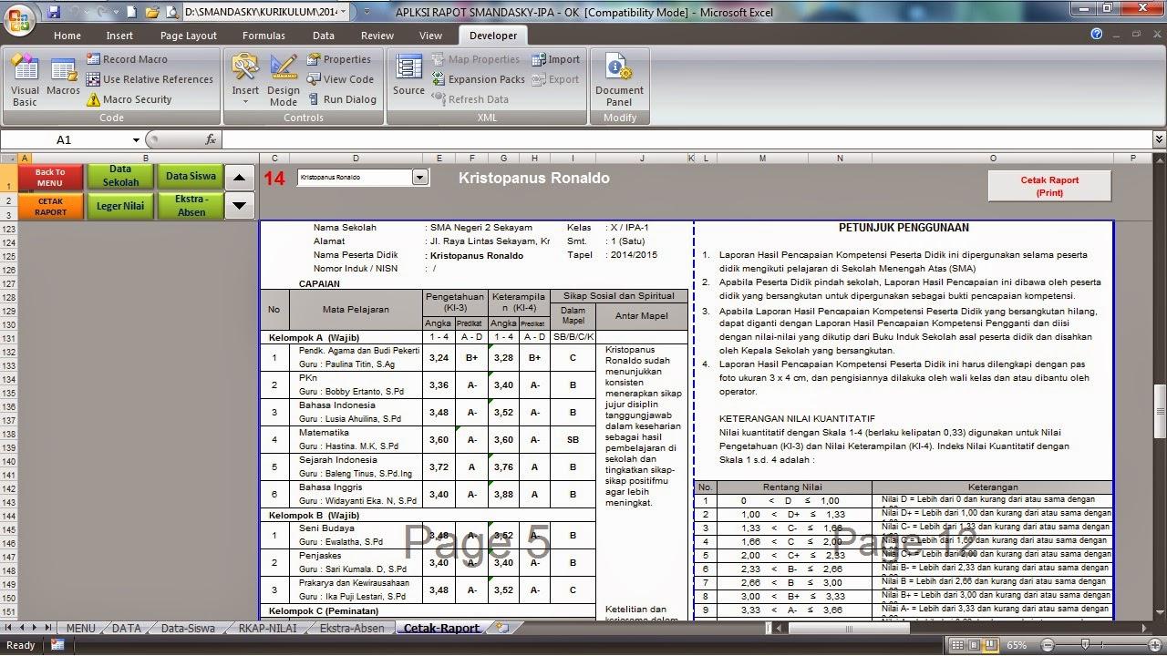 Format excel raport sma kurikulum 2013