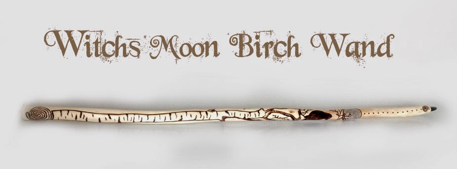 Witch's Moon Birch Wand with onyx tip from MoonsCrafts