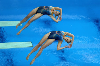 Olympic divers Lyubov Chervinskaya and Lyudmila Khmel of Kazakhstan