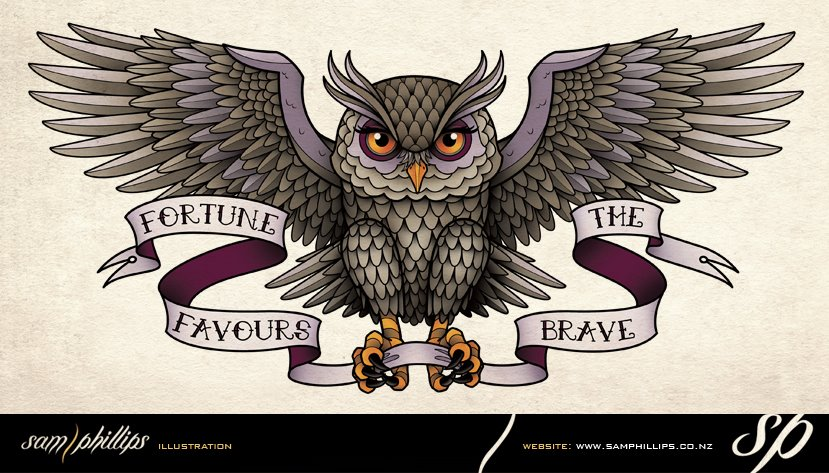 an owl back tattoo i designed for tracey hart tracey asked for the owl    Flying Horned Owl Tattoo