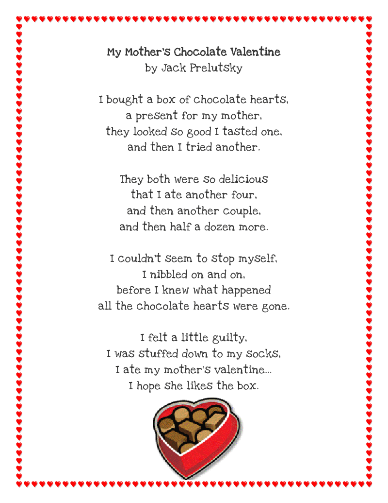 Uncategorized Valentines Poem For Kids literacy minute valentine poem printable by jack prelutsky