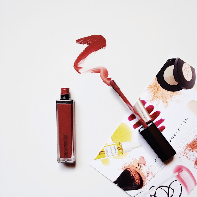 This image shows a full review and swatch of Laura Mercier Paint Wash Liquid Lip Colour in Rosewood.