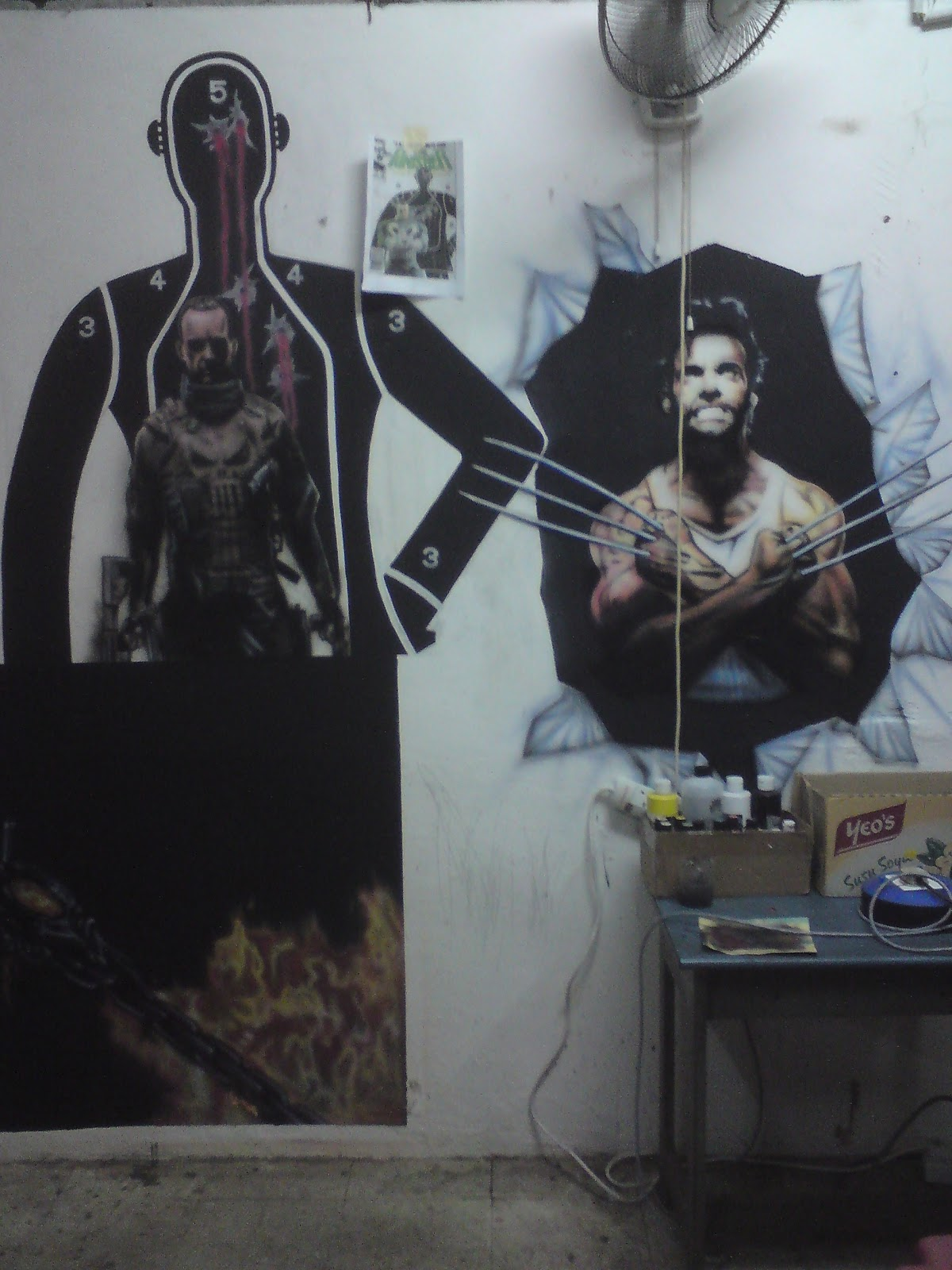 tribe x airbrush and custom artz new artwork for 2012 punisher meets wolverine wall mural older airbrush work bikes scooters
