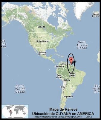 Mapa de Relieve. Ubicación de GUYANA en AMERICA